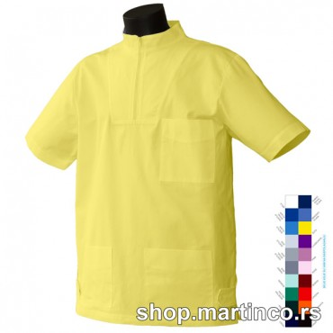 Man scrub top Short-zipper